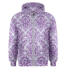 Damask1 White Marble & Purple Denim (r) Men s Zipper Hoodie