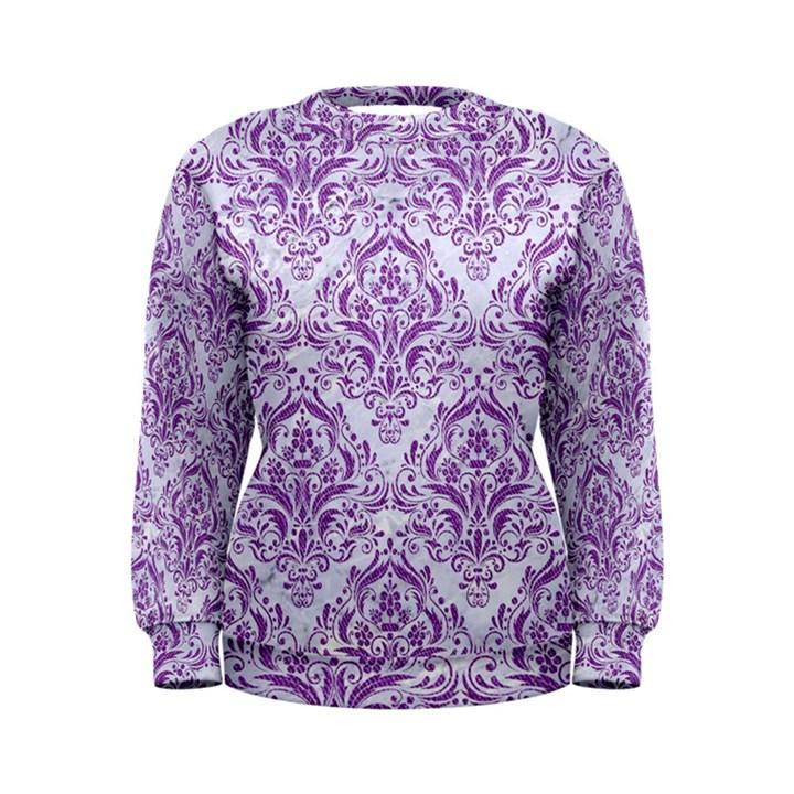 DAMASK1 WHITE MARBLE & PURPLE DENIM (R) Women s Sweatshirt