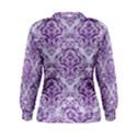 DAMASK1 WHITE MARBLE & PURPLE DENIM (R) Women s Sweatshirt View2