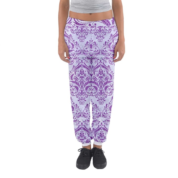 DAMASK1 WHITE MARBLE & PURPLE DENIM (R) Women s Jogger Sweatpants