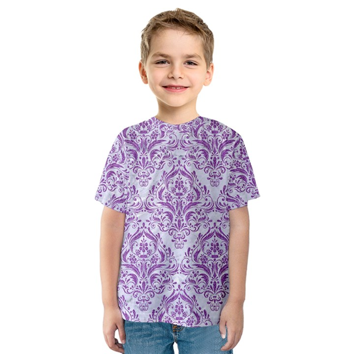 DAMASK1 WHITE MARBLE & PURPLE DENIM (R) Kids  Sport Mesh Tee