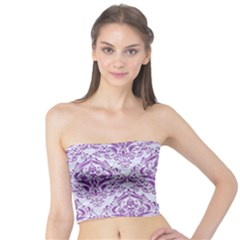 Damask1 White Marble & Purple Denim (r) Tube Top