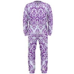 Damask1 White Marble & Purple Denim (r) Onepiece Jumpsuit (men)  by trendistuff