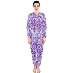Damask1 White Marble & Purple Denim (r) Onepiece Jumpsuit (ladies)