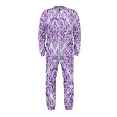Damask1 White Marble & Purple Denim (r) Onepiece Jumpsuit (kids)