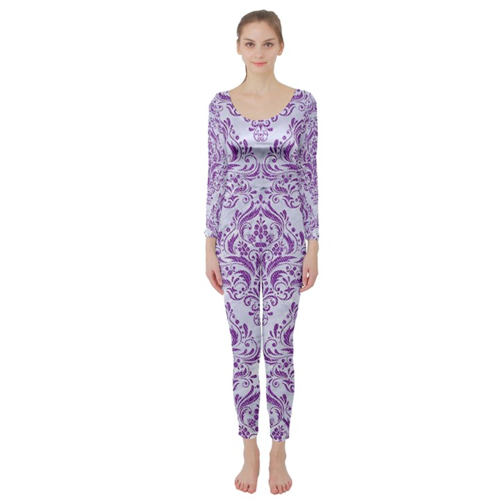DAMASK1 WHITE MARBLE & PURPLE DENIM (R) Long Sleeve Catsuit