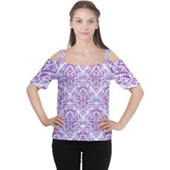 Damask1 White Marble & Purple Denim (r) Cutout Shoulder Tee
