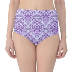 Damask1 White Marble & Purple Denim (r) High Waist Bikini Bottoms