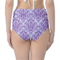 DAMASK1 WHITE MARBLE & PURPLE DENIM (R) High-Waist Bikini Bottoms View2
