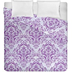 Damask1 White Marble & Purple Denim (r) Duvet Cover Double Side (king Size)