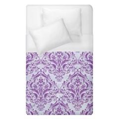 Damask1 White Marble & Purple Denim (r) Duvet Cover (single Size)