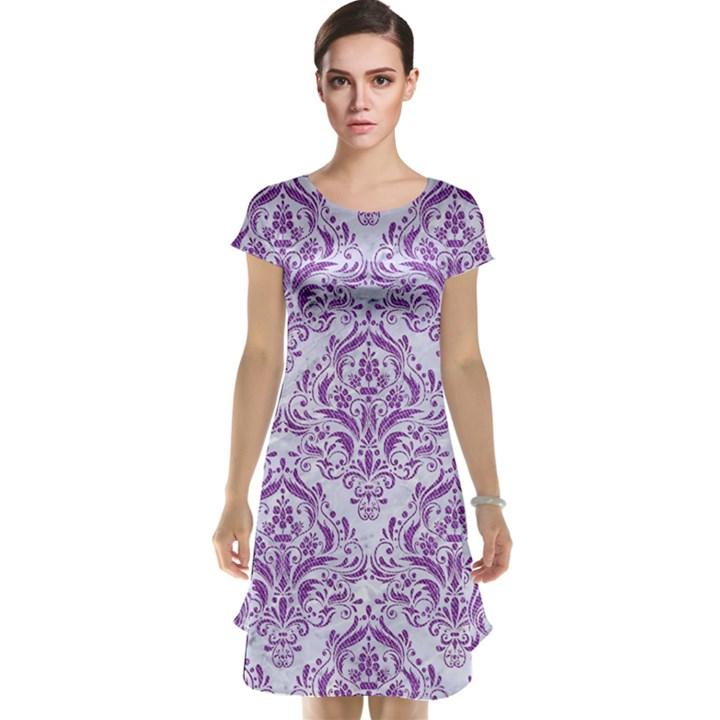 DAMASK1 WHITE MARBLE & PURPLE DENIM (R) Cap Sleeve Nightdress