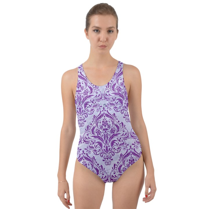 DAMASK1 WHITE MARBLE & PURPLE DENIM (R) Cut-Out Back One Piece Swimsuit