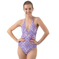 Damask1 White Marble & Purple Denim (r) Halter Cut Out One Piece Swimsuit by trendistuff