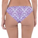 DAMASK1 WHITE MARBLE & PURPLE DENIM (R) Reversible Hipster Bikini Bottoms View2