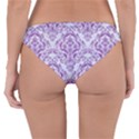 DAMASK1 WHITE MARBLE & PURPLE DENIM (R) Reversible Hipster Bikini Bottoms View4