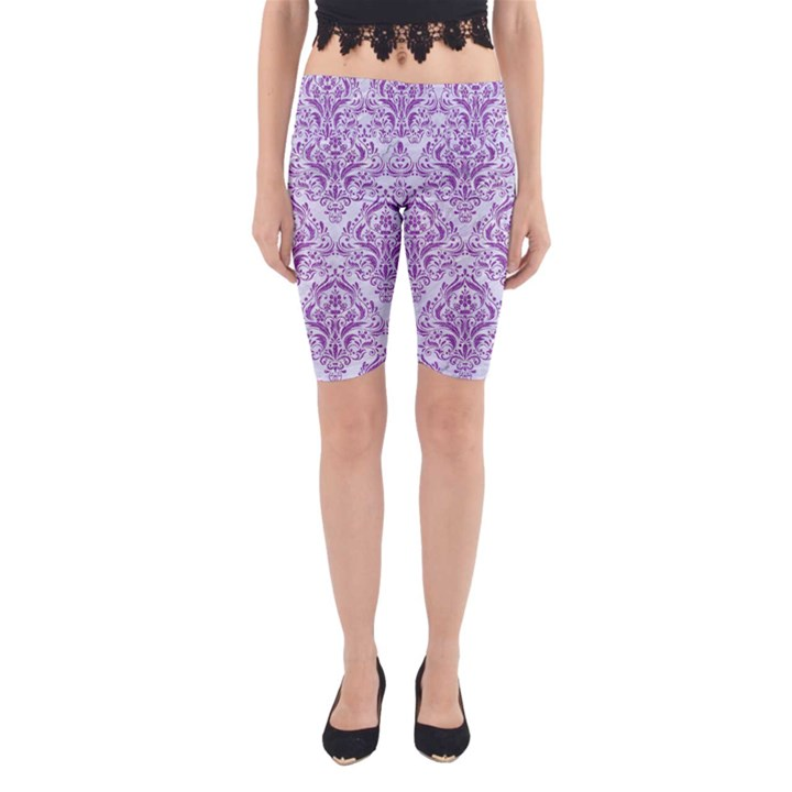 DAMASK1 WHITE MARBLE & PURPLE DENIM (R) Yoga Cropped Leggings