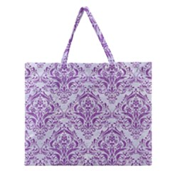 Damask1 White Marble & Purple Denim (r) Zipper Large Tote Bag