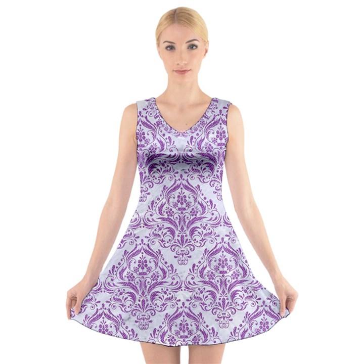 DAMASK1 WHITE MARBLE & PURPLE DENIM (R) V-Neck Sleeveless Dress