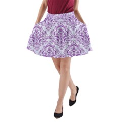 Damask1 White Marble & Purple Denim (r) A Line Pocket Skirt