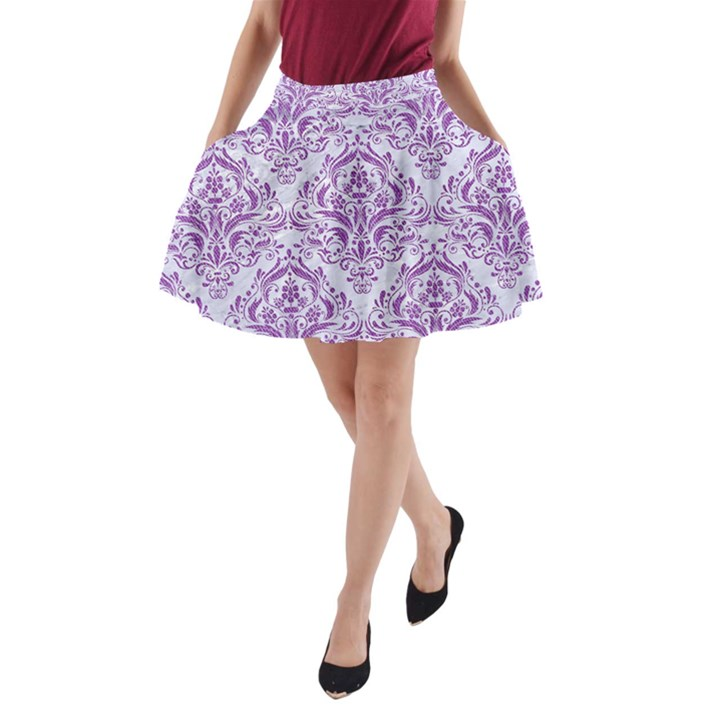 DAMASK1 WHITE MARBLE & PURPLE DENIM (R) A-Line Pocket Skirt