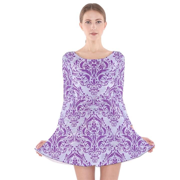 DAMASK1 WHITE MARBLE & PURPLE DENIM (R) Long Sleeve Velvet Skater Dress