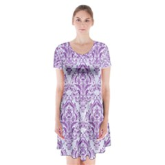 Damask1 White Marble & Purple Denim (r) Short Sleeve V Neck Flare Dress