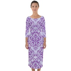 Damask1 White Marble & Purple Denim (r) Quarter Sleeve Midi Bodycon Dress