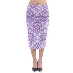 DAMASK1 WHITE MARBLE & PURPLE DENIM (R) Midi Pencil Skirt