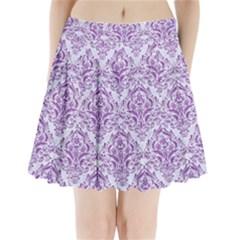 DAMASK1 WHITE MARBLE & PURPLE DENIM (R) Pleated Mini Skirt