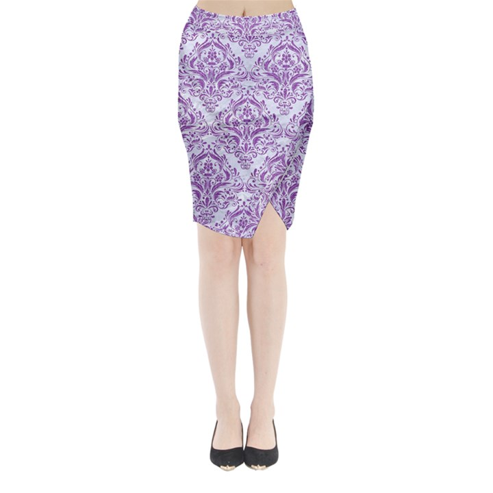 DAMASK1 WHITE MARBLE & PURPLE DENIM (R) Midi Wrap Pencil Skirt
