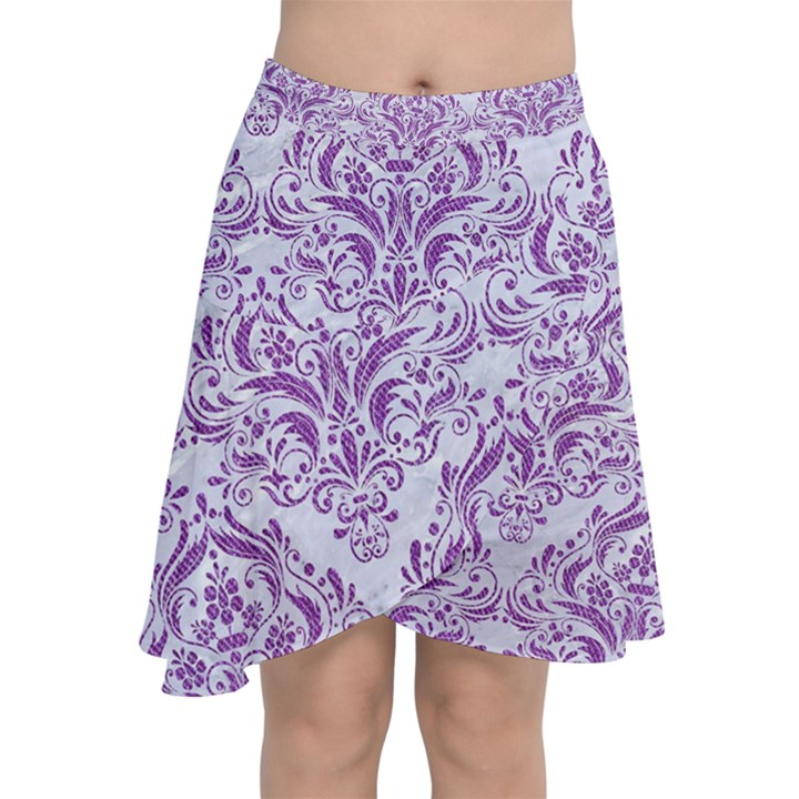 DAMASK1 WHITE MARBLE & PURPLE DENIM (R) Chiffon Wrap