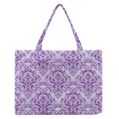 Damask1 White Marble & Purple Denim (r) Zipper Medium Tote Bag