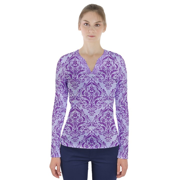 DAMASK1 WHITE MARBLE & PURPLE DENIM (R) V-Neck Long Sleeve Top