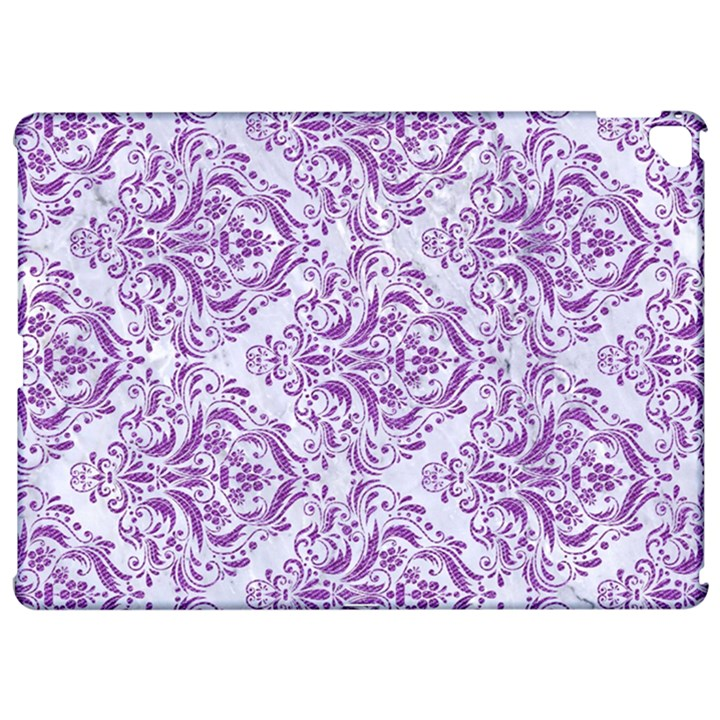 DAMASK1 WHITE MARBLE & PURPLE DENIM (R) Apple iPad Pro 12.9   Hardshell Case