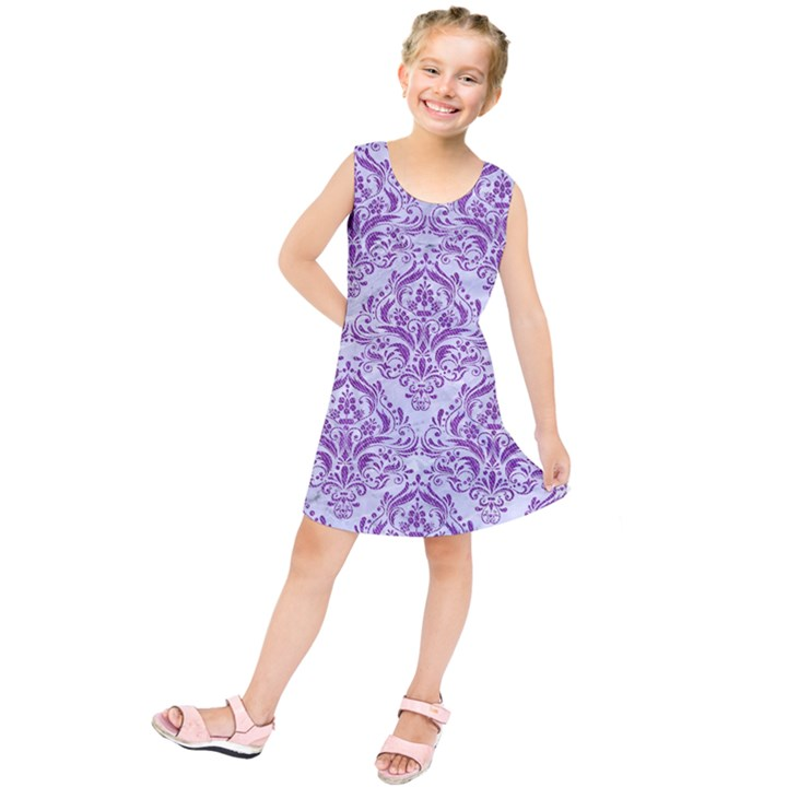 DAMASK1 WHITE MARBLE & PURPLE DENIM (R) Kids  Tunic Dress