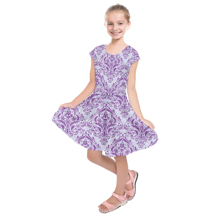 DAMASK1 WHITE MARBLE & PURPLE DENIM (R) Kids  Short Sleeve Dress