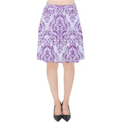 Damask1 White Marble & Purple Denim (r) Velvet High Waist Skirt