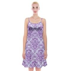 Damask1 White Marble & Purple Denim (r) Spaghetti Strap Velvet Dress