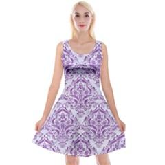 DAMASK1 WHITE MARBLE & PURPLE DENIM (R) Reversible Velvet Sleeveless Dress