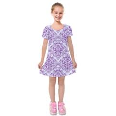 Damask1 White Marble & Purple Denim (r) Kids  Short Sleeve Velvet Dress
