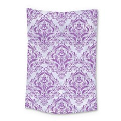Damask1 White Marble & Purple Denim (r) Small Tapestry