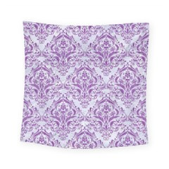 Damask1 White Marble & Purple Denim (r) Square Tapestry (small)
