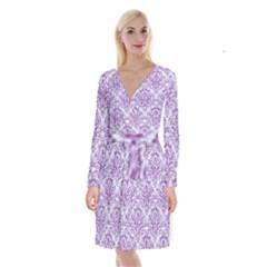 DAMASK1 WHITE MARBLE & PURPLE DENIM (R) Long Sleeve Velvet Front Wrap Dress