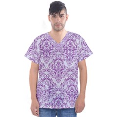 Damask1 White Marble & Purple Denim (r) Men s V Neck Scrub Top