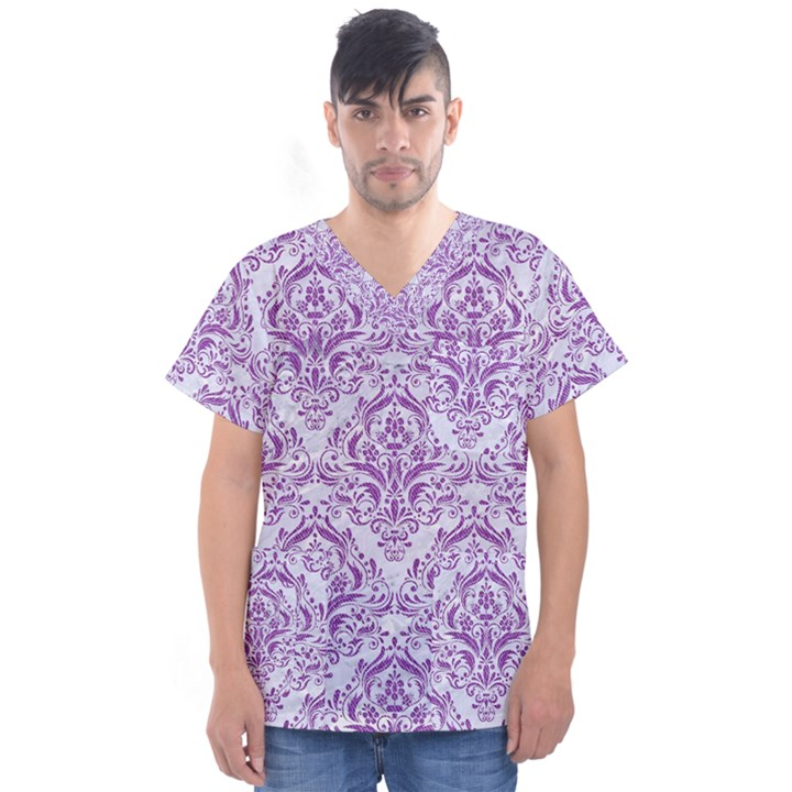 DAMASK1 WHITE MARBLE & PURPLE DENIM (R) Men s V-Neck Scrub Top