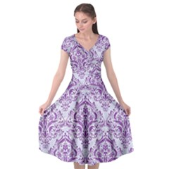 Damask1 White Marble & Purple Denim (r) Cap Sleeve Wrap Front Dress by trendistuff