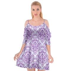 Damask1 White Marble & Purple Denim (r) Cutout Spaghetti Strap Chiffon Dress