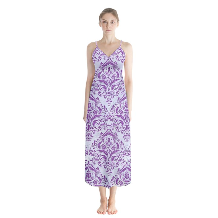 DAMASK1 WHITE MARBLE & PURPLE DENIM (R) Button Up Chiffon Maxi Dress