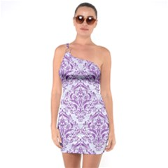 Damask1 White Marble & Purple Denim (r) One Soulder Bodycon Dress